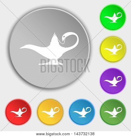 Alladin Lamp Genie Icon Sign. Symbol On Eight Flat Buttons. Vector