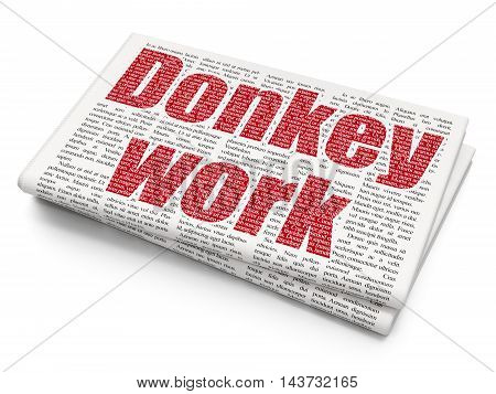 Business concept: Pixelated red text Donkey Work on Newspaper background, 3D rendering