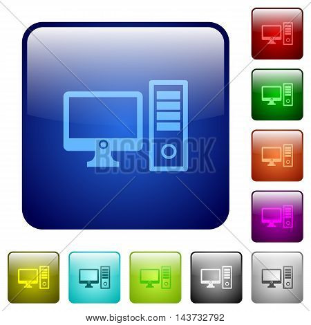 Set of desktop computer color glass rounded square buttons