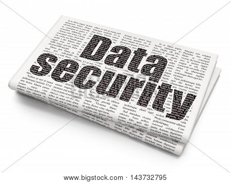 Safety concept: Pixelated black text Data Security on Newspaper background, 3D rendering