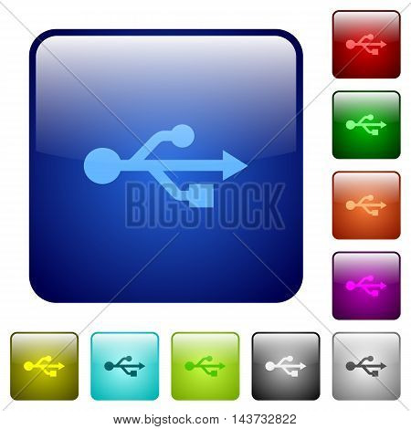 Set of USB connection color glass rounded square buttons