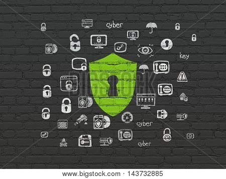 Security concept: Painted green Shield With Keyhole icon on Black Brick wall background with  Hand Drawn Security Icons