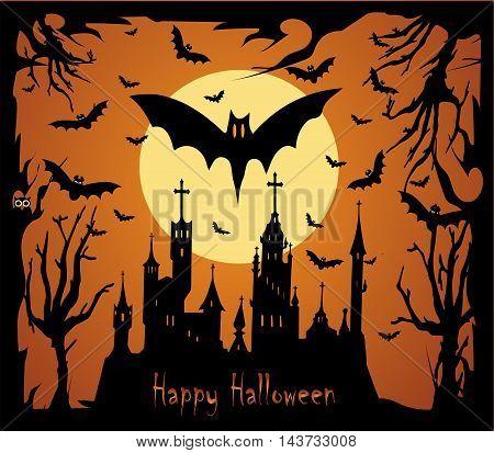 Halloween background vector with moon, castle, bats and sentence Happy Halloween