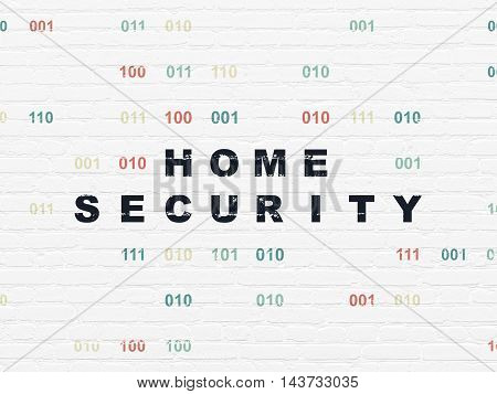 Protection concept: Painted black text Home Security on White Brick wall background with Binary Code