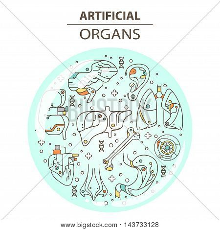 Artificial organs. Vector illustration EPS 10 Isolated objects