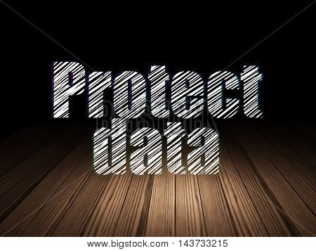Safety concept: Glowing text Protect Data in grunge dark room with Wooden Floor, black background