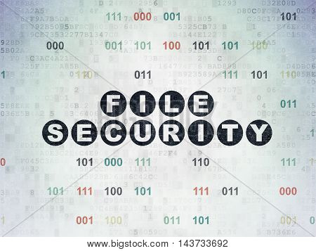 Safety concept: Painted black text File Security on Digital Data Paper background with Binary Code