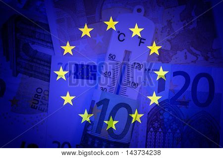 Eu flag, thermometer and euros - Finance / Business
