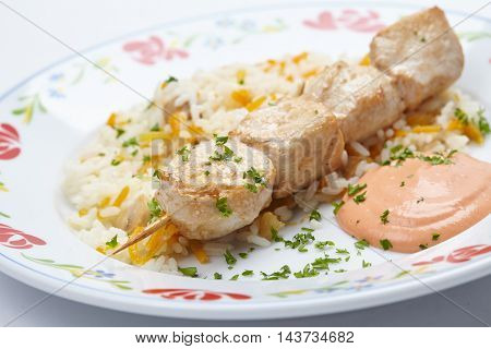 rice with chicken kebab