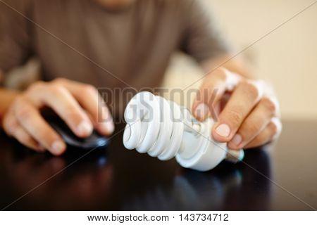man with lightbulb