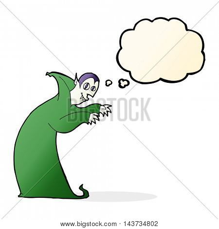 cartoon spooky vampire with thought bubble