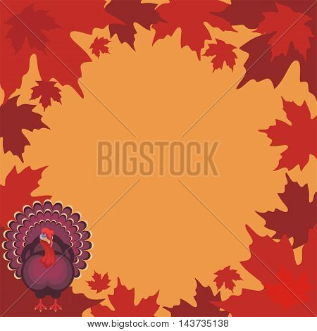 thanksgiving background with the image of a big beautiful Turkey and autumn maple leaves