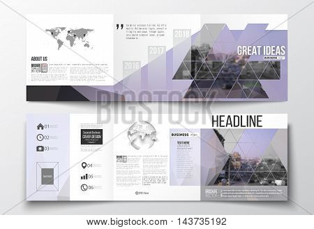 Vector set of tri-fold brochures, square design templates with element of world map and globe. Polygonal background, blurred image, urban landscape, modern stylish triangular vector texture