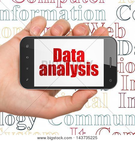 Data concept: Hand Holding Smartphone with  red text Data Analysis on display,  Tag Cloud background, 3D rendering