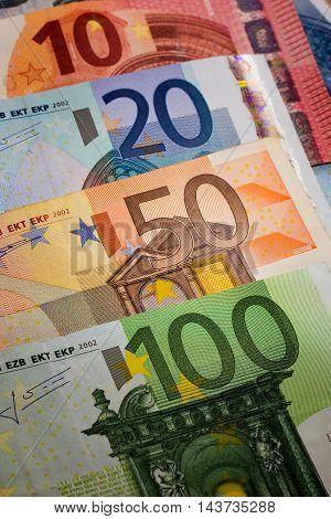 Euros - 100, 50, 20, 10 and 5 euro