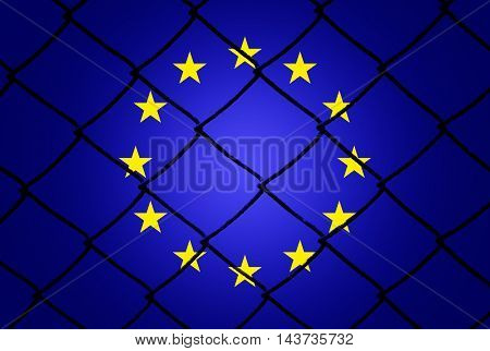 Eu flag and fence - Refugee crisis concept