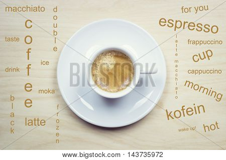 Cup of espresso with word cloud .