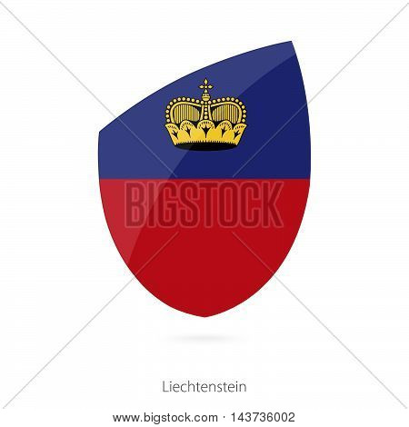 Flag Of Liechtenstein In The Style Of Rugby Icon.