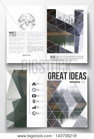 Set of business templates for brochure, magazine, flyer, booklet or annual report. Colorful polygonal backdrop, blurred natural background, modern stylish triangle vector texture.