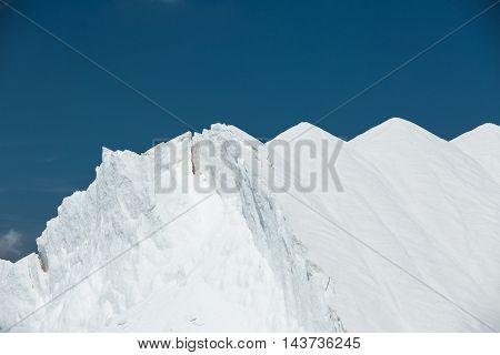 Production of salt. Mountains of sea salt