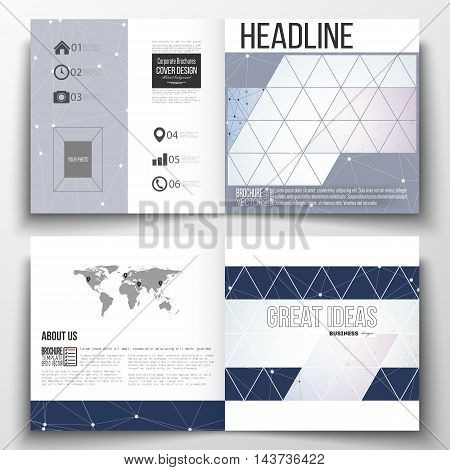 Vector set of square design brochure template. Polygonal low poly backdrop with connecting dots and lines, connection structure, blue background. Digital or science vector