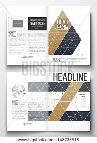 Set of business templates for brochure, magazine, flyer, booklet or annual report. Polygonal backdrop with connecting dots and lines, golden background, connection structure. Digital or science vector