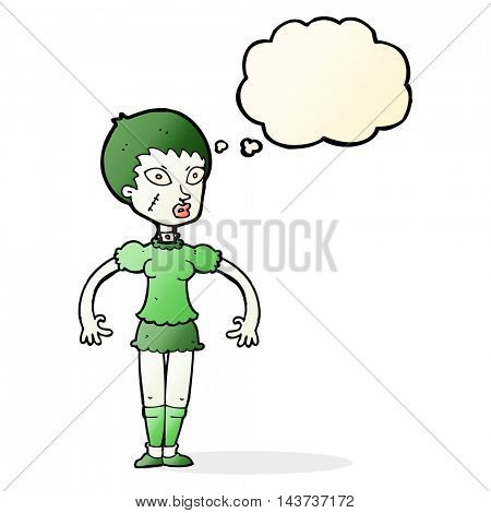 cartoon zombie monster woman with thought bubble