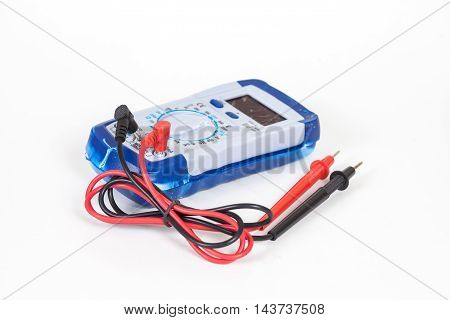 broken Digital multimeter on white background ioslate