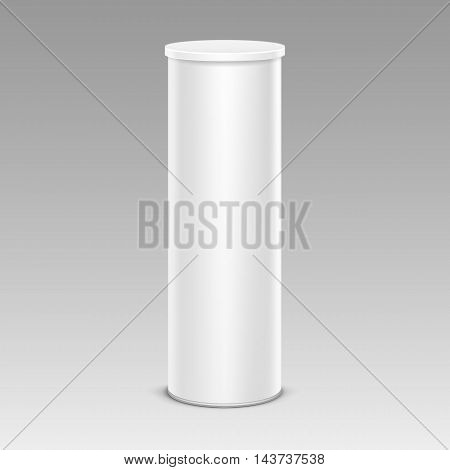 Vector White Chips Tin Box Container Tube for Package Design Close up Isolated on Background