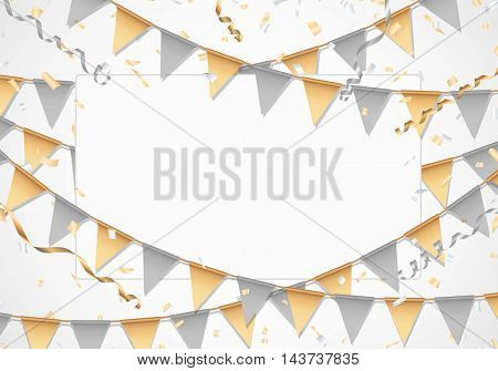 Gold and silver party background with white board