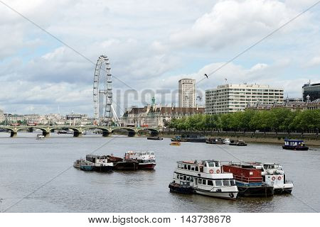 Panoramic view over the river Thames in London England.