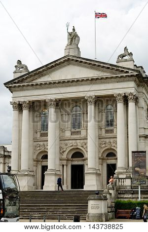 LONDON ENGLAND - JULY 8 2016: Tate Britain an art museum on Millbank. It is part of the Tate network of galleries in England with Tate Modern Tate Liverpool and Tate St Ives. It is the oldest gallery of all.