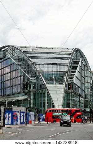 LONDON ENGLAND - JULY 8 2016: Cardinal Place - a retail and office development near Victoria Station. The site consists of three buildings covering over a million square feet on Victoria Street.