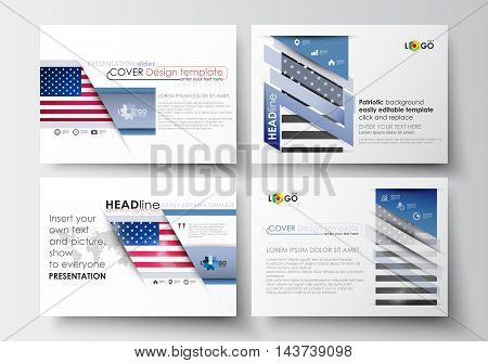 Set of business templates for presentation slides. Easy editable abstract layouts in flat design. Patriot Day background with american flag, vector illustration.