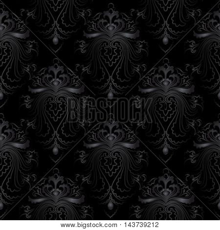 Dark black modern and stylish vintage damask baroque floral vector seamless pattern background with vintage beautiful black flowers and black vintage ornaments. Luxury illustration and royal 3d decor elements with shadow and highlights. Endless elegant te