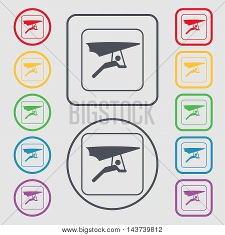 Hang-gliding Icon Sign. Symbol On The Round And Square Buttons With Frame. Vector