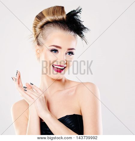 Surprised Fashion Model Woman on white background