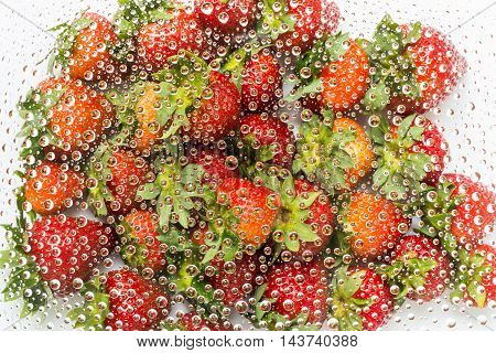 Water Drops Of Strawberry Background