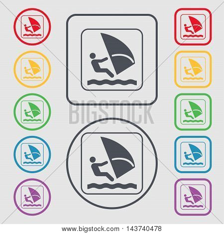 Windsurfing Icon Sign. Symbol On The Round And Square Buttons With Frame. Vector