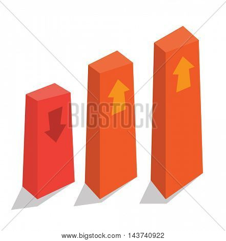 Bar chart with up and down arrows vector. Business presentation. Vector flat design illustration isolated on white background.