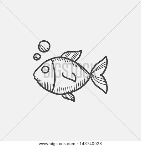 Small fish sketch icon for web, mobile and infographics. Hand drawn vector isolated icon.