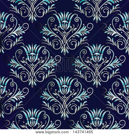Dark blue vitnage stylish vector seamless pattern background with vintage light blue damask ornaments. Stylish  illustration and 3d vintage decor elements with shadow and highlights. Endless elegant  texture.
