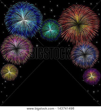 Fireworks with star vector on black background