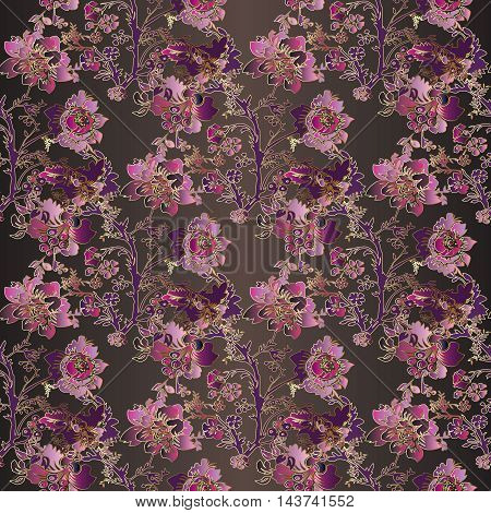 Floral modern vector seamless pattern with vintage pink,purple, violet  flowers and ornaments on the brown background. Stylish  illustration and 3d vintage decor elements with shadow and highlights. Endless elegant  texture.