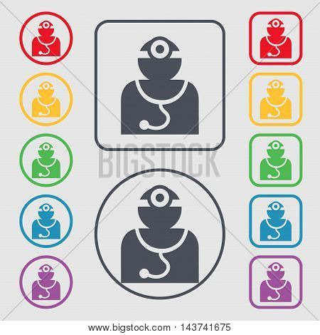 Doctor With Stethoscope Around His Neck Icon Sign. Symbol On The Round And Square Buttons With Frame