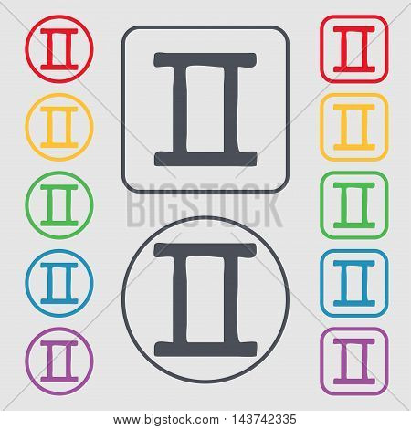 Gemini Icon Sign. Symbol On The Round And Square Buttons With Frame. Vector