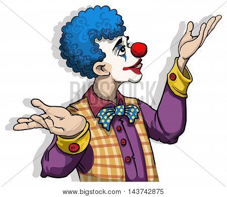 Colorful Clown character, with open arms, isolated on white, vector illustration