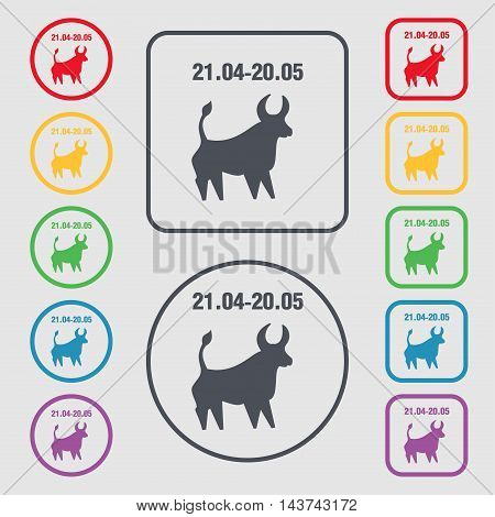 Taurus Icon Sign. Symbol On The Round And Square Buttons With Frame. Vector