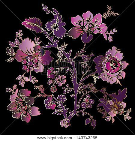 Vector illustration with elegant vintage decorative pink, purple and violet blowers and leaves on the black background. Stylish  illustration and 3d vintage decor elements with shadow and highlights.