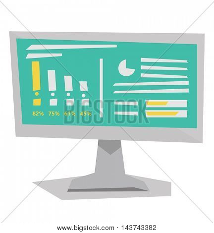 Board with business charts. Business presentation. Vector flat design illustration isolated on white background.